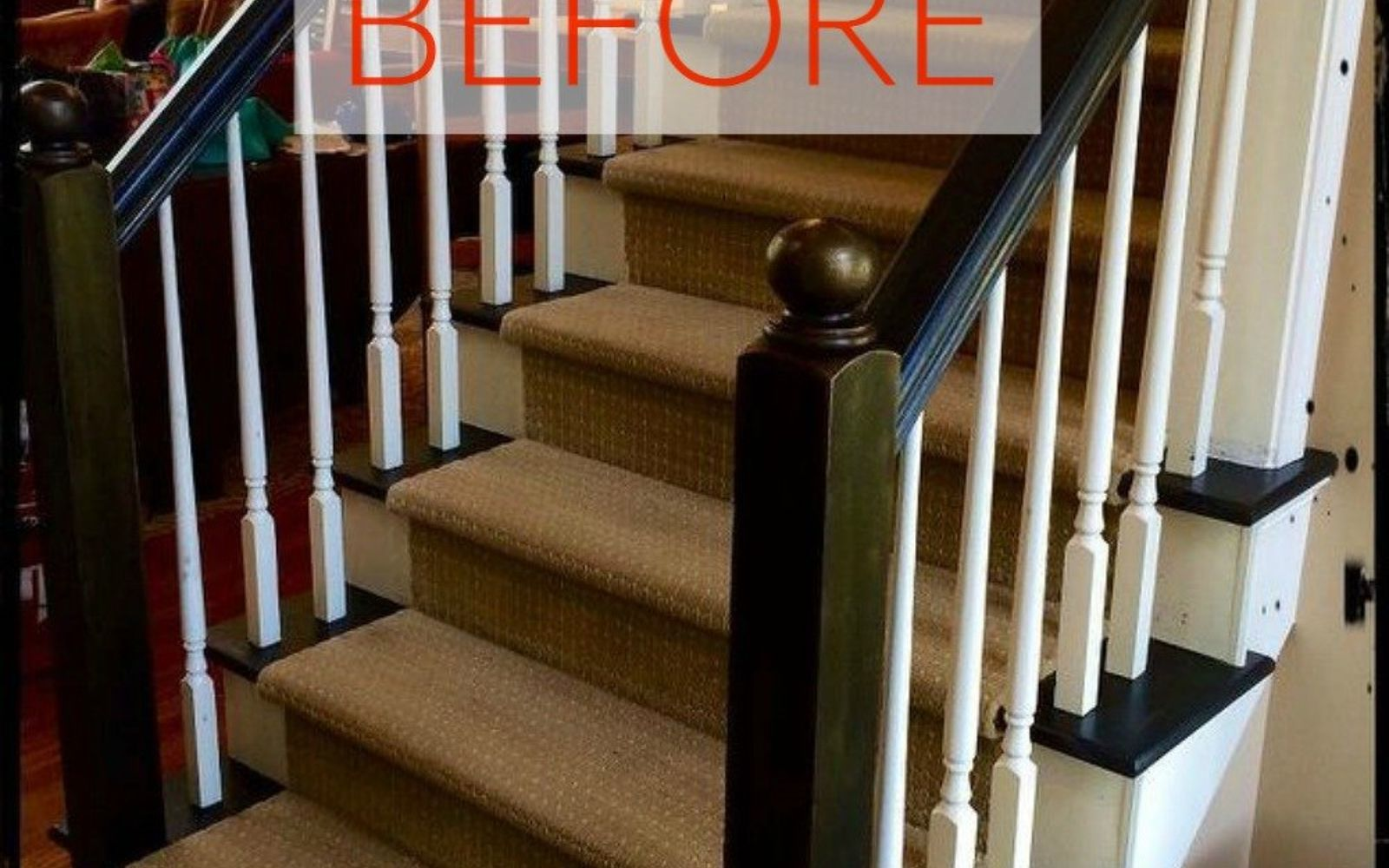 s stop everything these banister makeovers look ah mazing, Before A standard plain banister