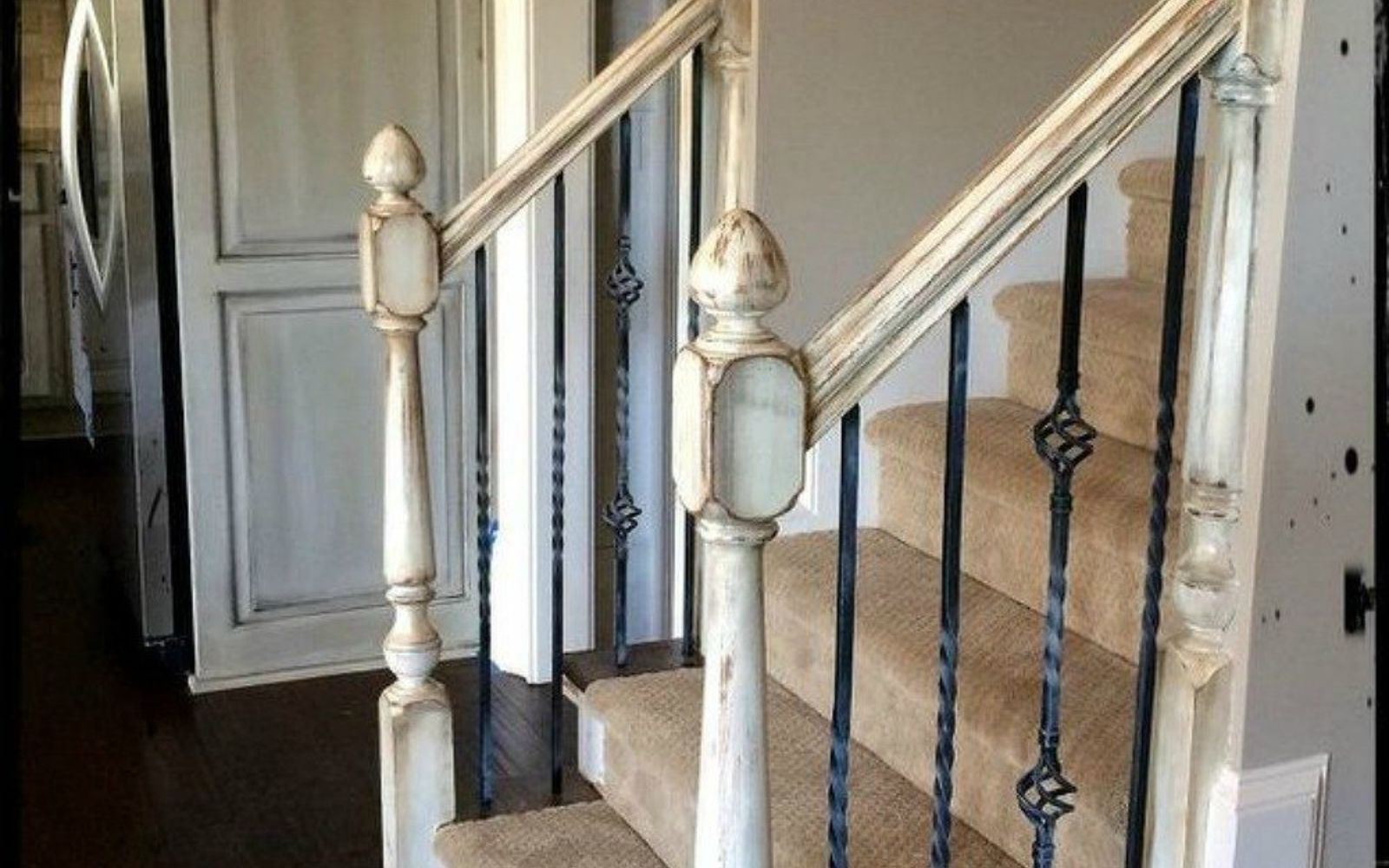 s stop everything these banister makeovers look ah mazing, After A vintage distressed stunner