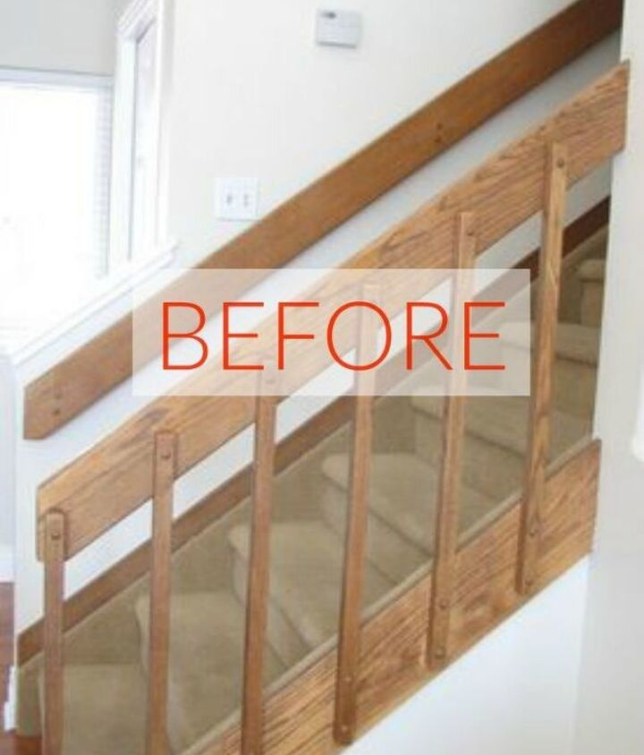 s stop everything these banister makeovers look ah mazing, Before 80 s has been