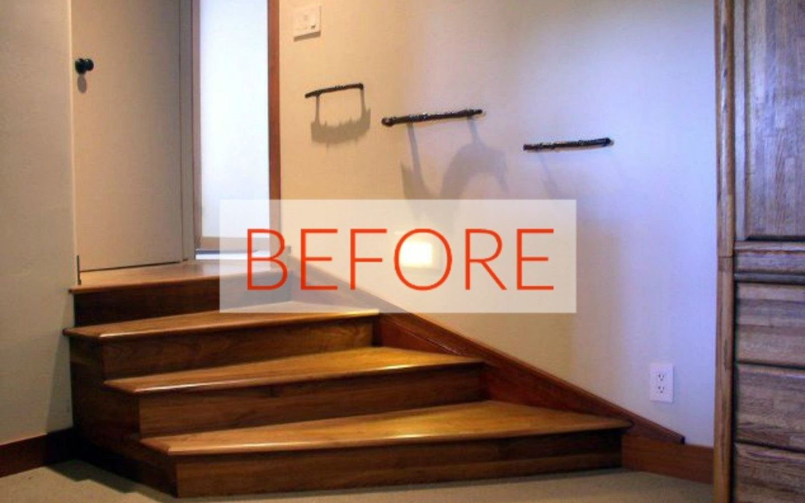 s stop everything these banister makeovers look ah mazing, Before Mounted wall handrail