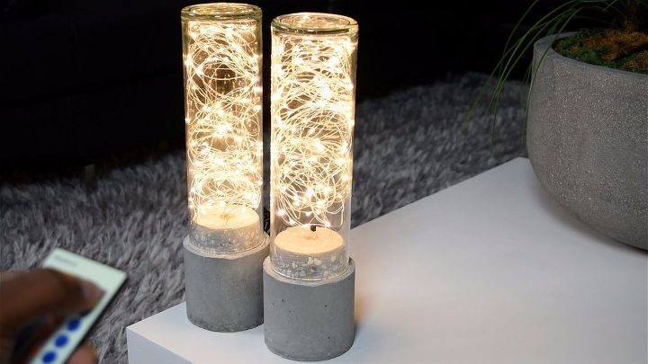 diy concrete lamp led string light, concrete masonry, lighting