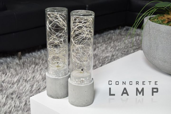 diy concrete lamp led string light, concrete masonry, lighting