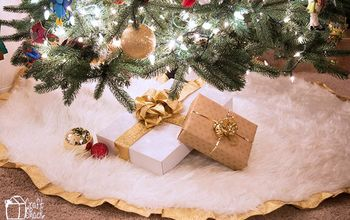 no sew rustic glam faux fur and gold tree skirt