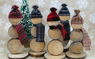 diy how to make wood slice snowmen, how to