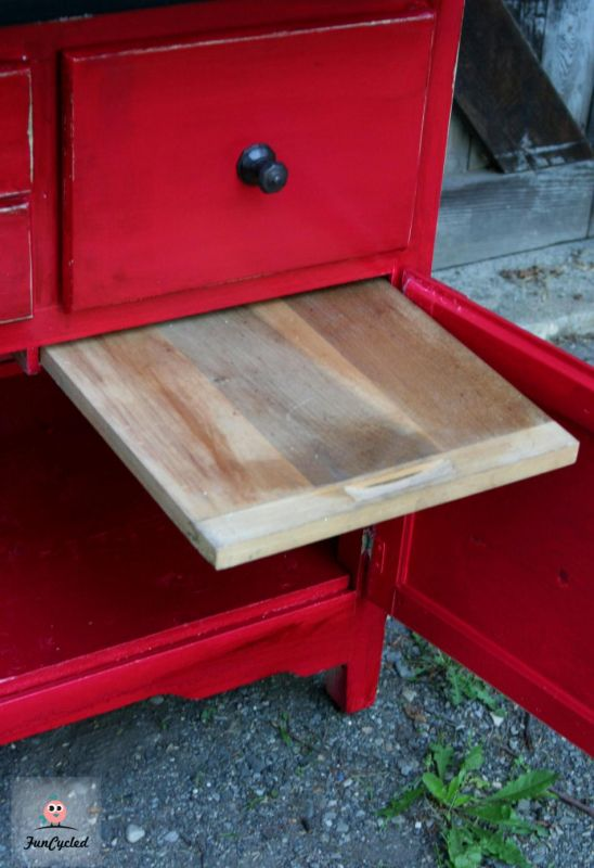 Red Hoosier Cabinet Revamp