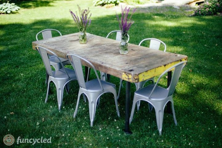 old oak cart turned into a dining room table, painted furniture, woodworking projects