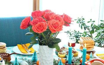 orange and turquoise holiday table decor, home decor, painted furniture