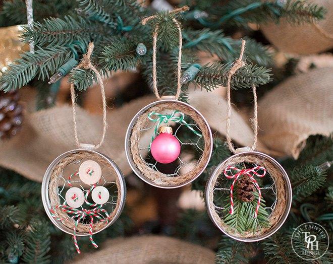 mason jar lid chicken wire christmas ornaments, christmas decorations, mason jars, seasonal holiday decor