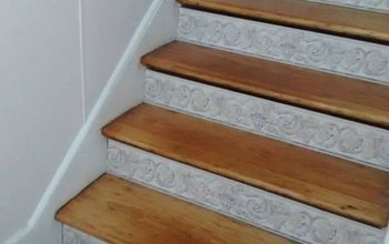 s 20 ways you never thought of using wallpaper, wall decor, Dress up your boring stair risers