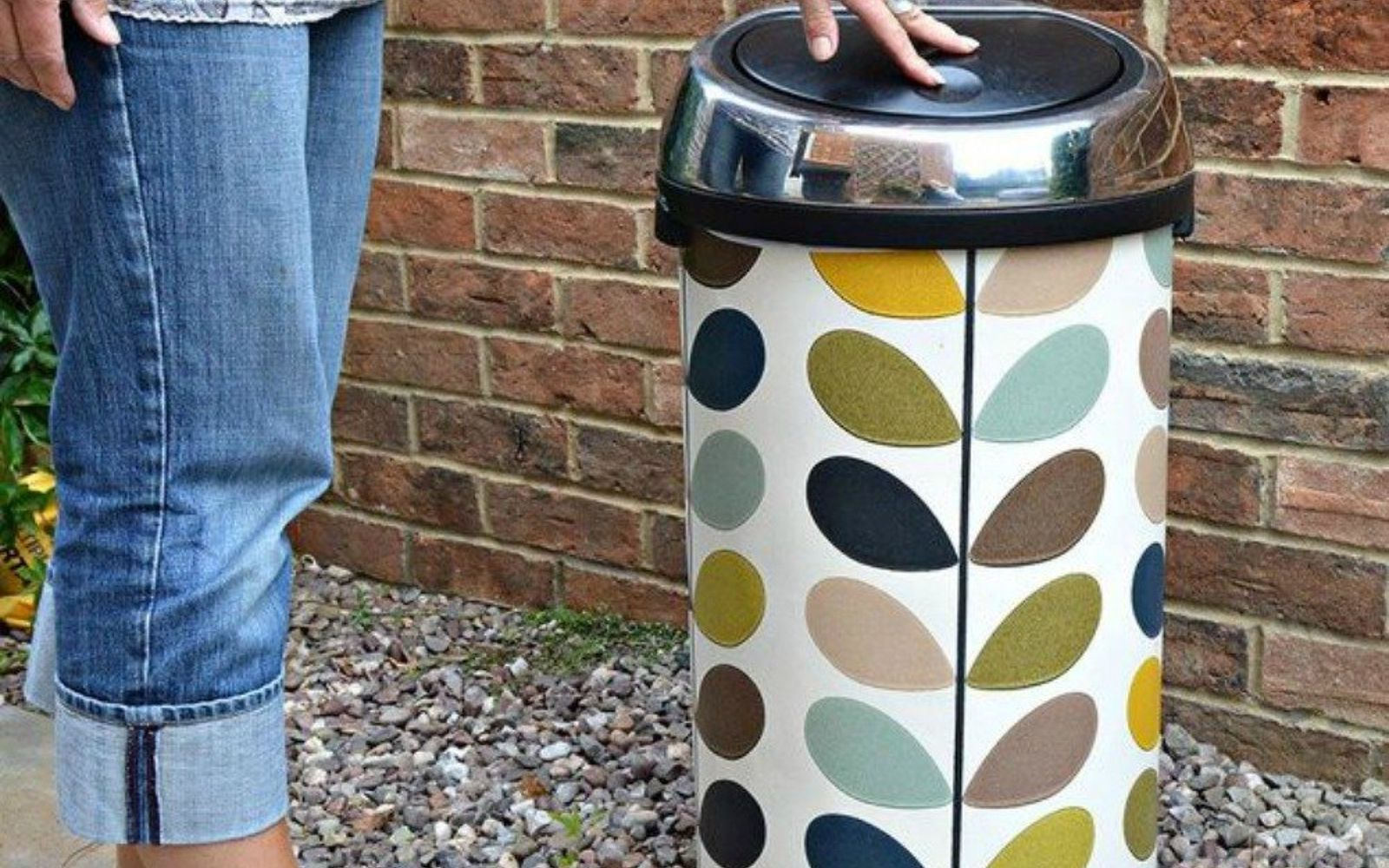s 20 ways you never thought of using wallpaper, wall decor, Give your metal trash bin a makeover