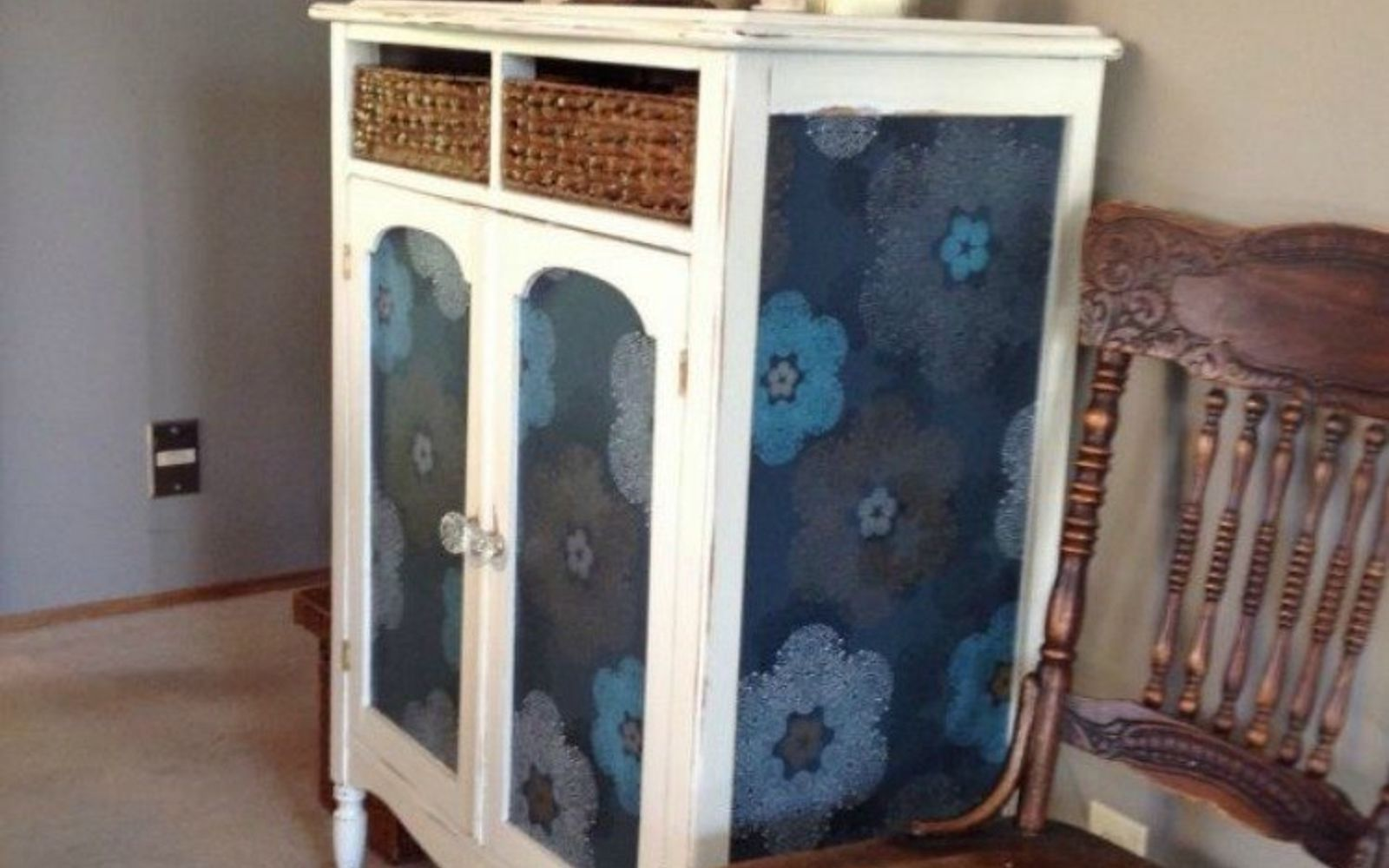 s 20 ways you never thought of using wallpaper, wall decor, Make over an old cabinet