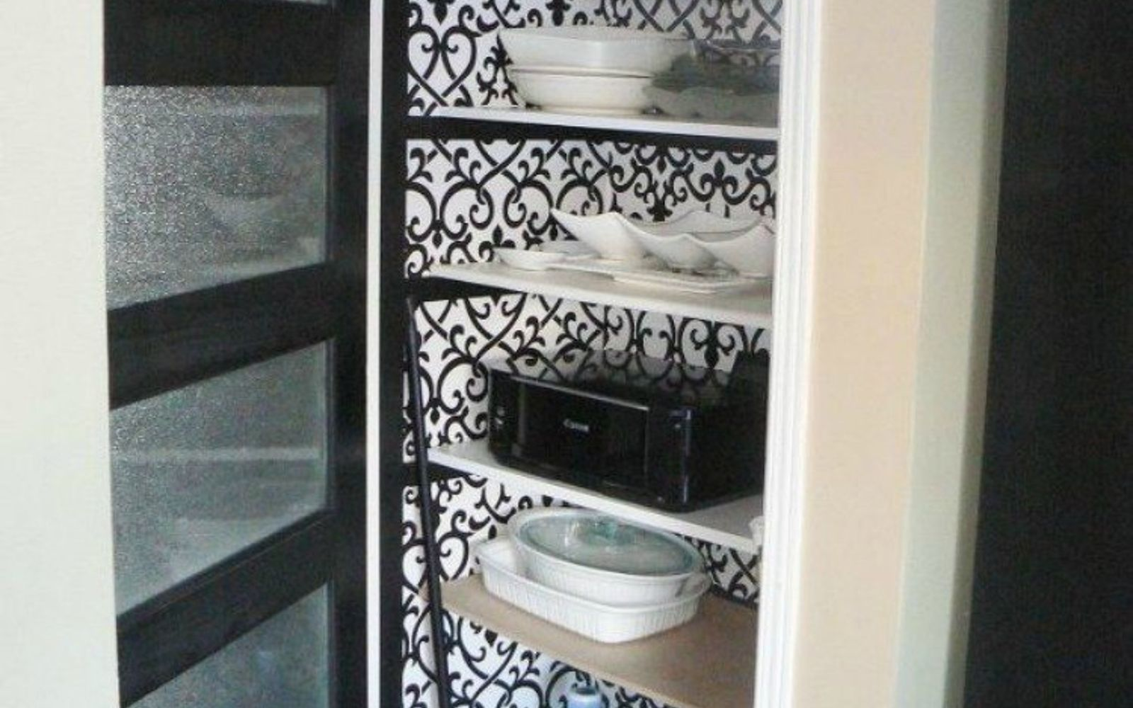 s 20 ways you never thought of using wallpaper, wall decor, Transform your kitchen pantry
