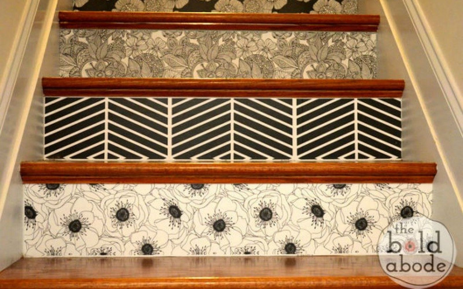 s 20 ways you never thought of using wallpaper, wall decor, Add some pattern to your stairs