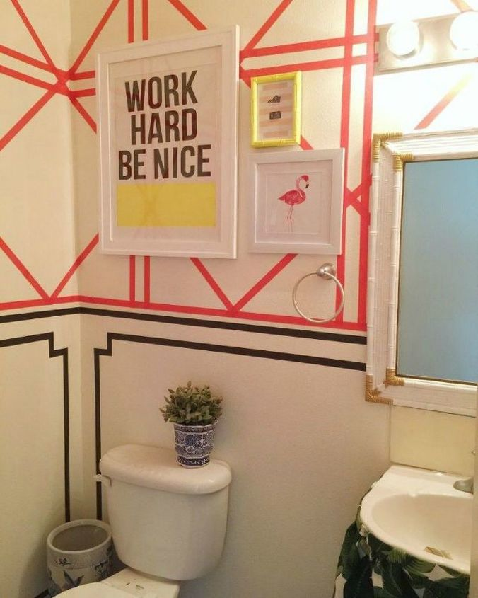 s how to get a gorgeous bathroom in less than three hours, bathroom ideas, how to, Paste washi tape to your powder room wall