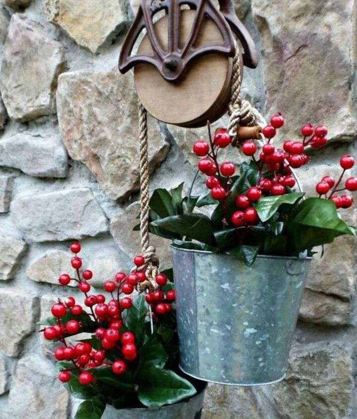 s 13 winter planter ideas for when you re missing your garden, gardening, A galvanized bucket for your winter porch