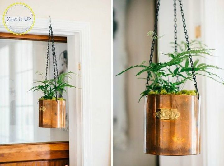 s 13 winter planter ideas for when you re missing your garden, gardening, A repurposed copper sugar holder in your hall