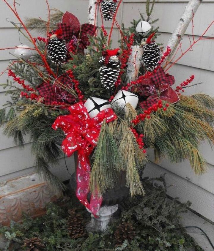 s 13 winter planter ideas for when you re missing your garden, gardening, A porch planter for evergreens tree birch