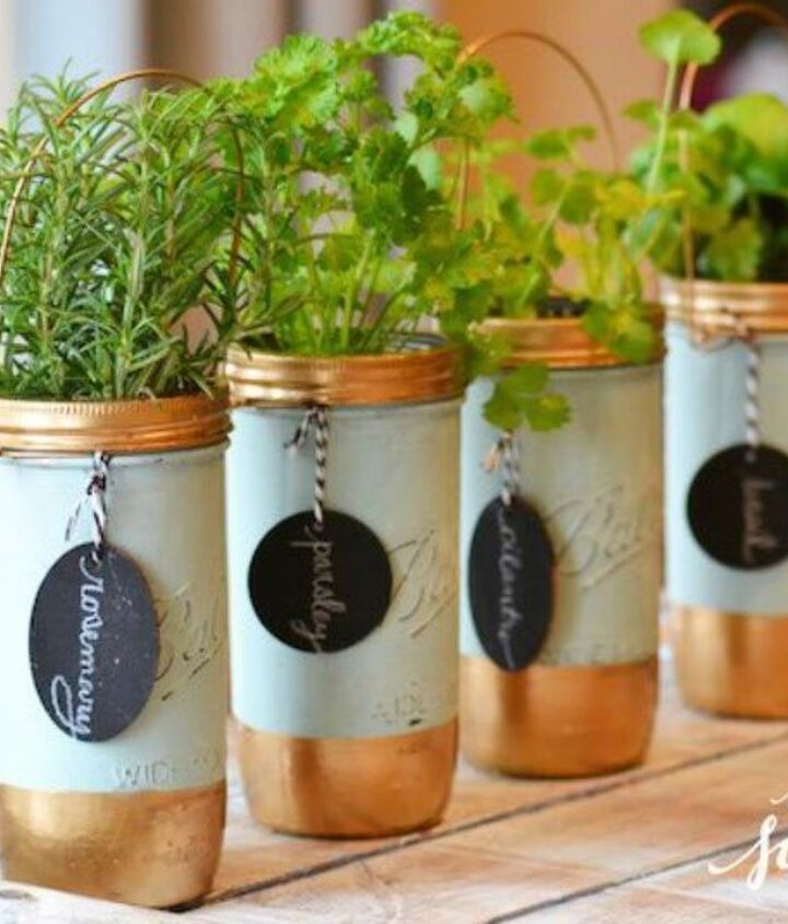 s 13 winter planter ideas for when you re missing your garden, gardening, An indoor mason jar herb garden