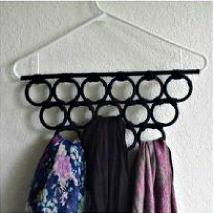 s want an organized closet try this today, closet, organizing, Glue shower curtain rings for a scarf hanger