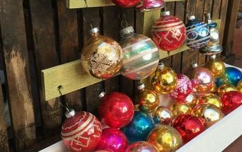 Vintage Shiny Brite Christmas Ornament Display, Wood Christmas Tree