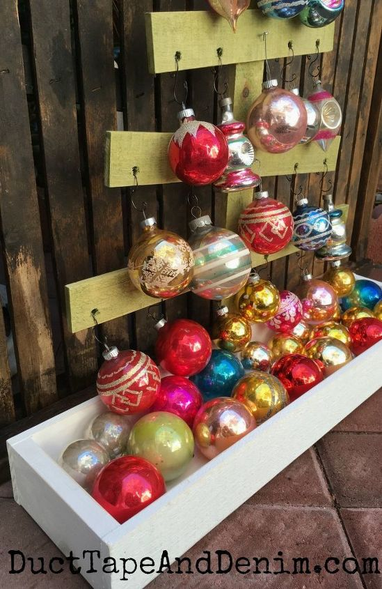 vintage shiny brite christmas ornament display wood christmas tree, christmas decorations, seasonal holiday decor