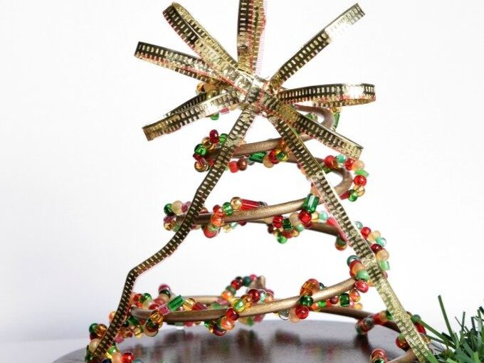 beaded christmas trees made from couch springs, painted furniture