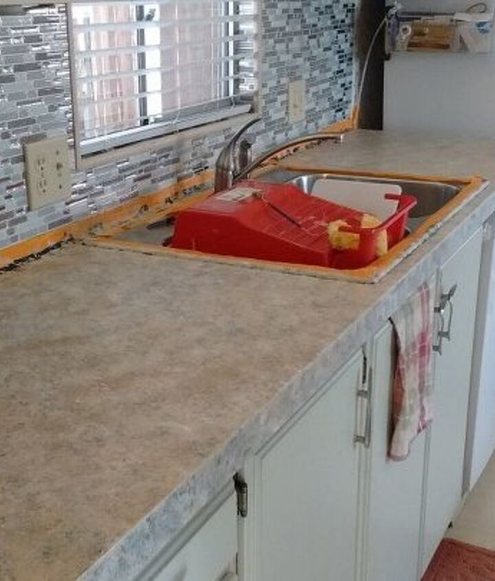 away with the old butcherblock countertop, countertops