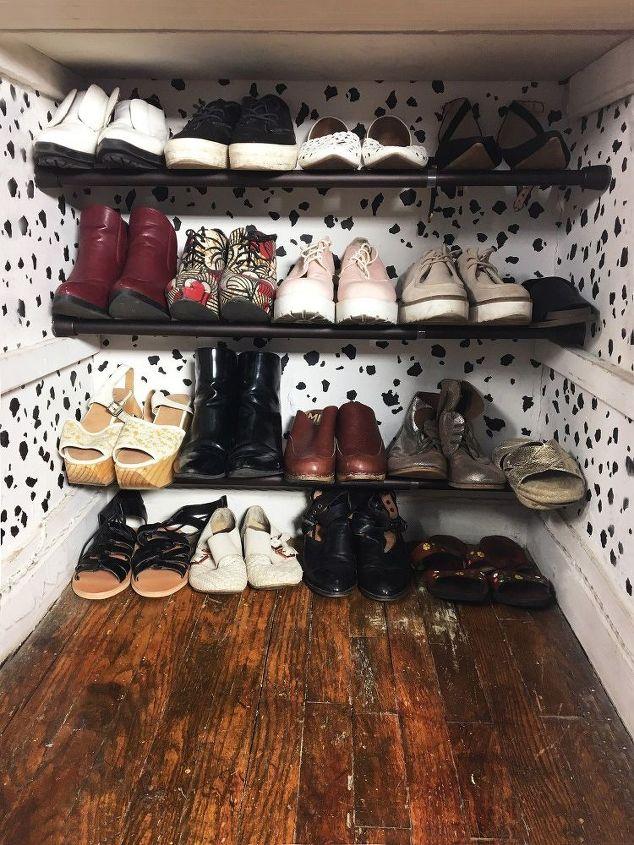tension rod shoe storage, storage ideas