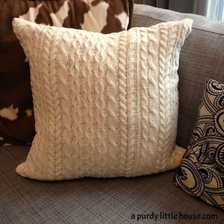 s 16 affordable ways to warm up your home this winter, home decor, Use your old comfy sweater as a pillow cover