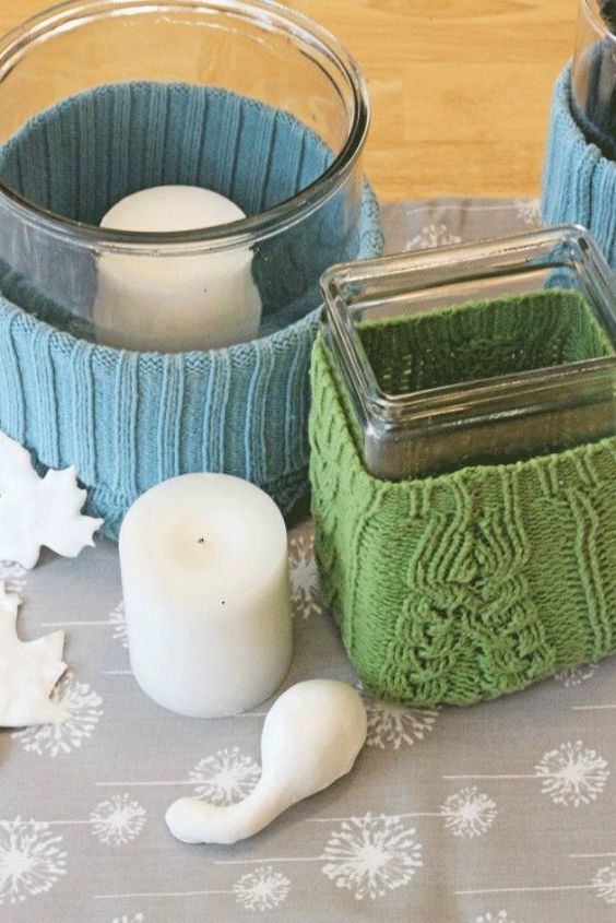 s 16 affordable ways to warm up your home this winter, home decor, Cozy up your vases with old sweaters