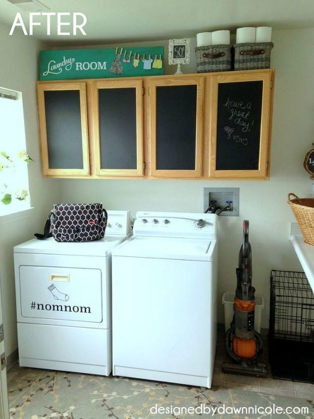 s hate your dreary laundry room try these 13 cute ideas, laundry rooms, Add quirky messages on surfaces