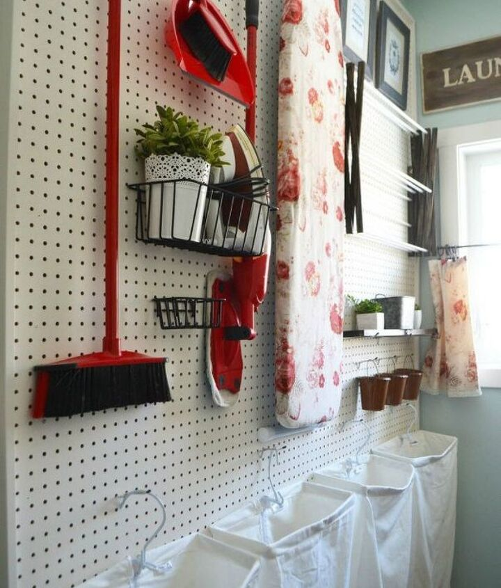 s hate your dreary laundry room try these 13 cute ideas, laundry rooms, Make a pegboard wall