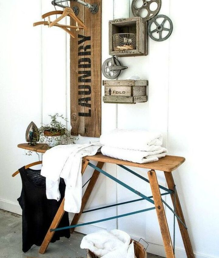 s hate your dreary laundry room try these 13 cute ideas, laundry rooms, Repurpose pallets into a drying rack
