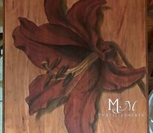 red stained lily table, flowers, gardening, painted furniture