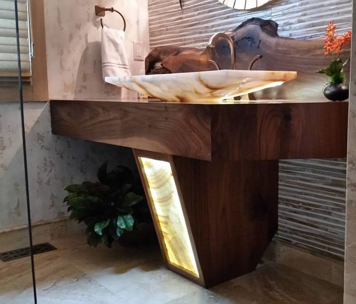 Building A Floating Vanity With A Live Edge Walnut Slab
