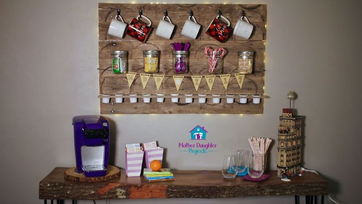 pallet coffee tea drink station, painted furniture, pallet
