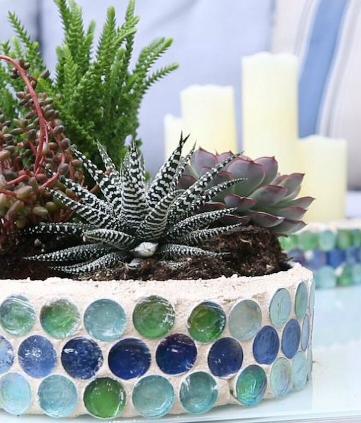 s don t throw away those popcorn tins before you see these 13 ideas, Turn it into a mosaic planter