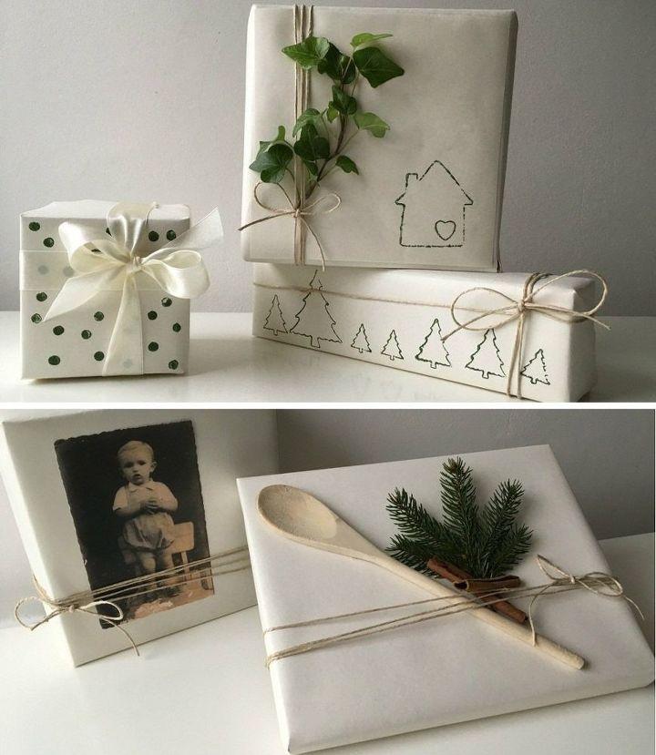 christmas gift wrapping using home supplies, home decor