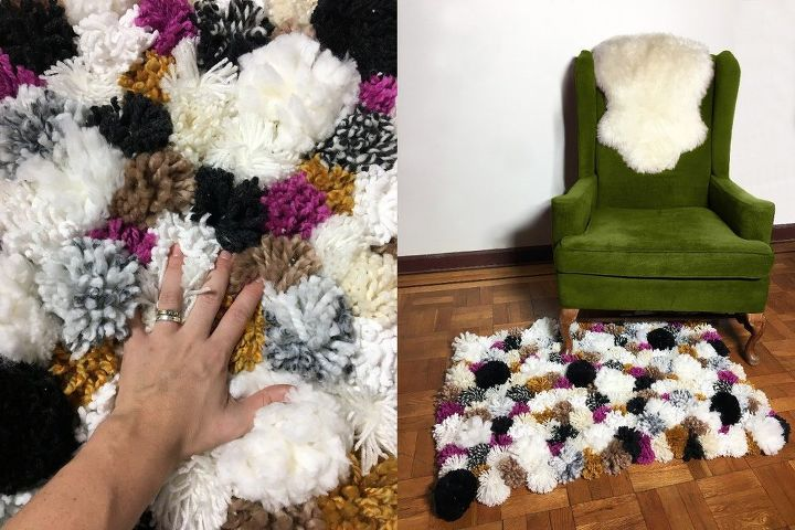 make your own pom pom rug, reupholster