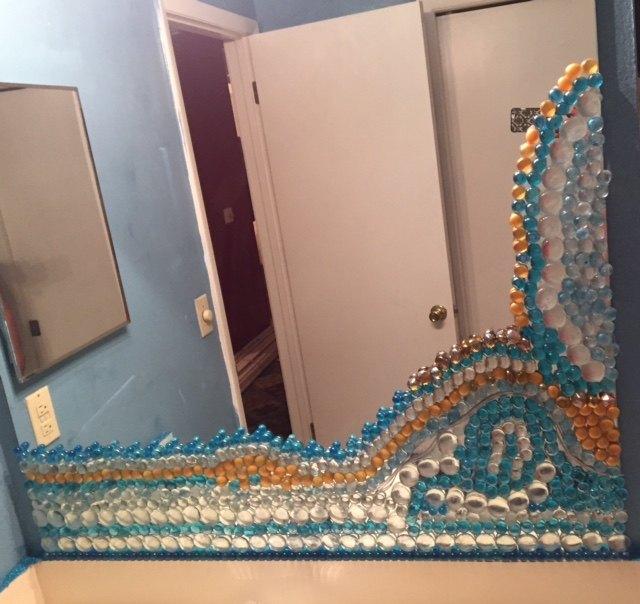 beaded glass mirror, home decor