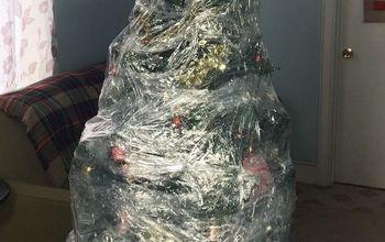 Plastic Wrapped Christmas Tree