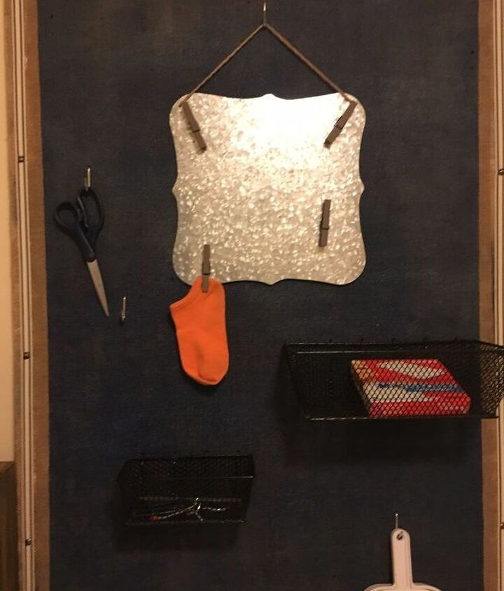 when is a pegboard not an obvious pegboard when you add burlap , crafts