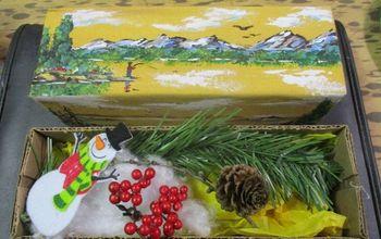 repurposed cloth covered cheese box gift box