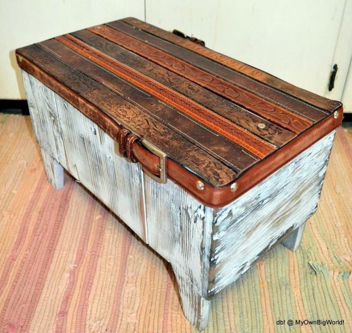 s cut up a belt for these 12 amazing decor ideas, home decor, Flatten them into a bench top