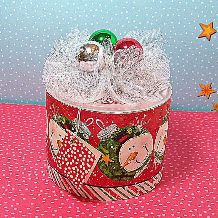 s don t throw away those oatmeal tins before you see these 14 ideas, Wrap it in wrapping paper for a present
