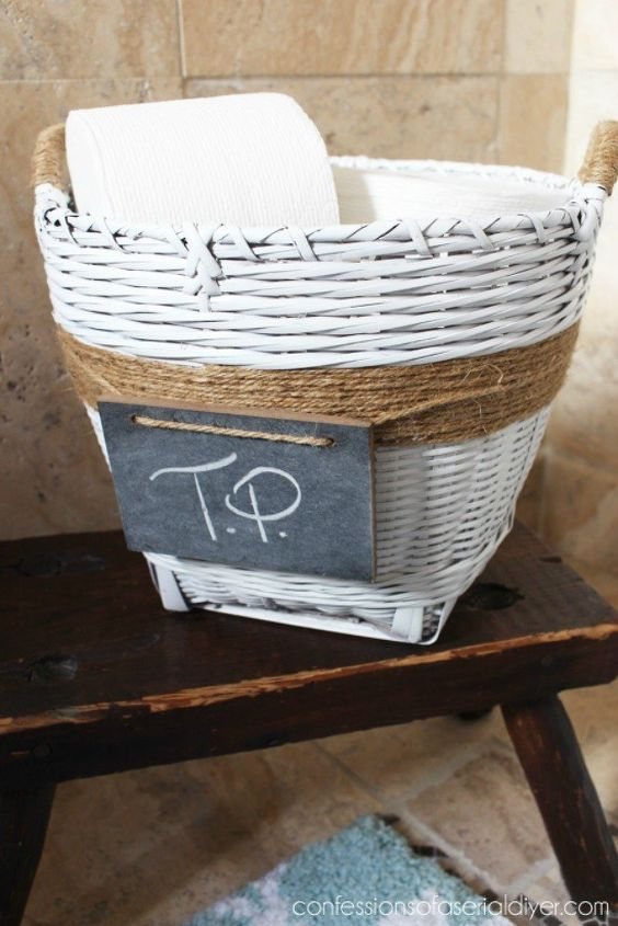 s dress up your bathroom in less than one minute really, bathroom ideas, Or keep it in a twine covered basket