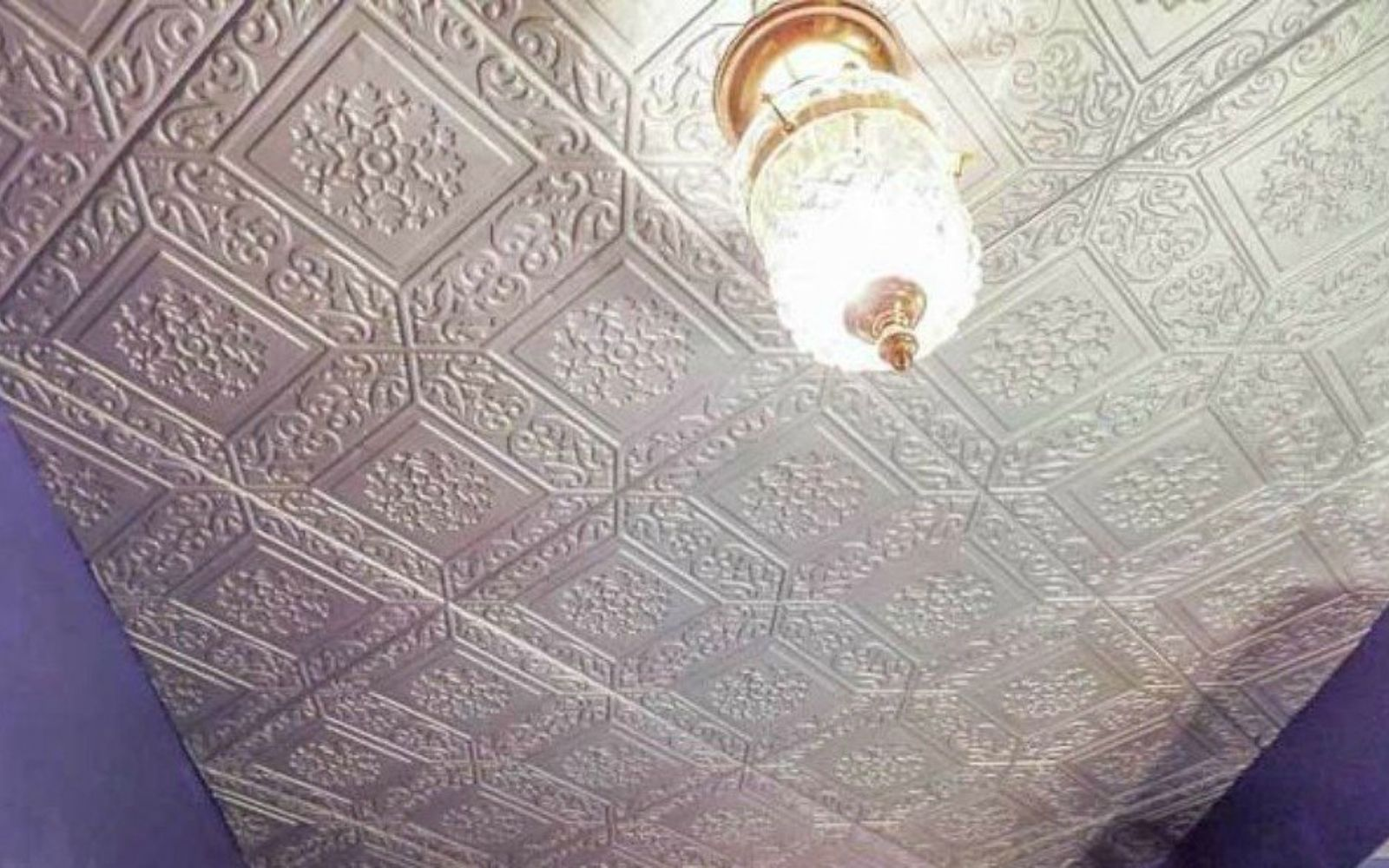 s x ways you never thought of using tile in your home, home decor, As the faux tin ceiling in your dining room