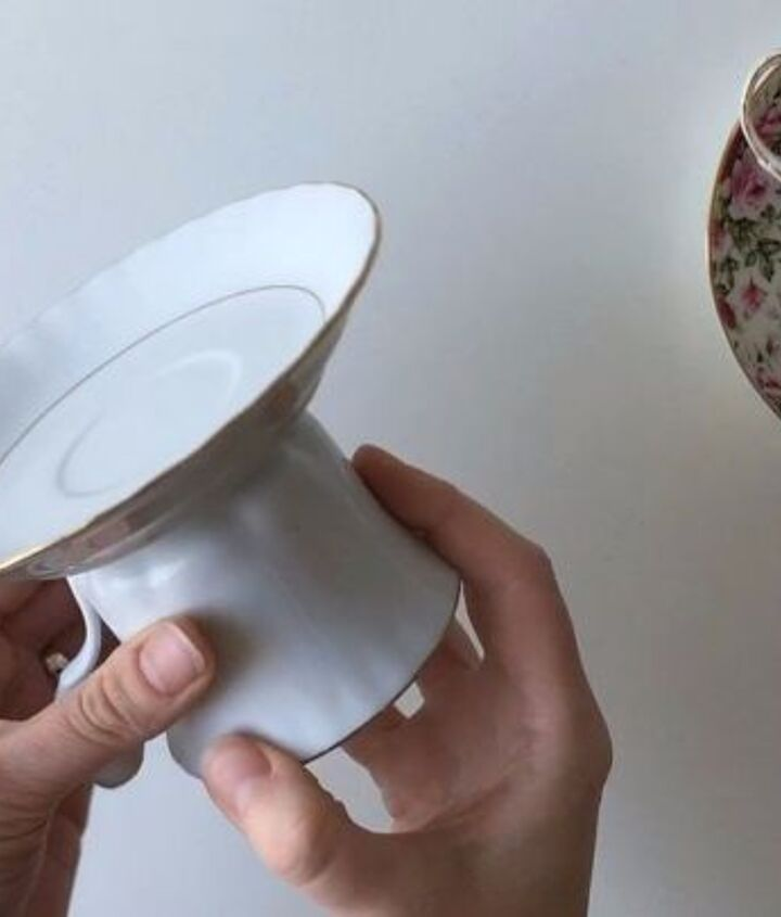 cake stand made from an old coffee cup, painted furniture