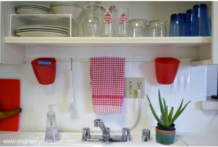 s 15 clever ways to add more kitchen storage space with open shelves, kitchen design, shelving ideas, storage ideas, Get extra space above your sink