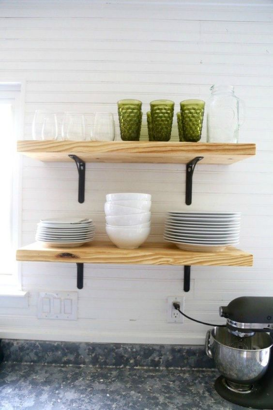 s 15 clever ways to add more kitchen storage space with open shelves, kitchen design, shelving ideas, storage ideas, Condense your dishes into two shelves